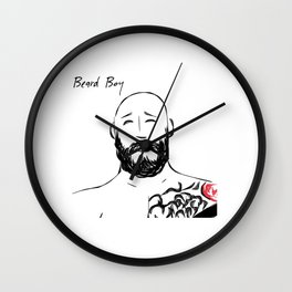 Beard Boy Tattoo 5 Wall Clock