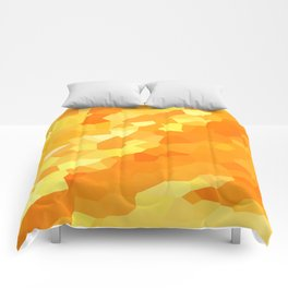 Polygonal Yellow and Orange Stained Glass Mosaic Comforters