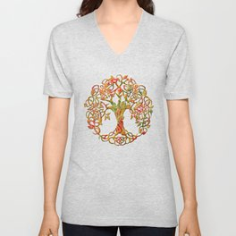 Tree of Life Orange Unisex V-Neck