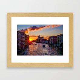 Sunset River City (Color) Framed Art Print