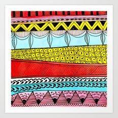 Illustrated Stripes in Modern Patterns Art Print