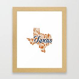 UT Austin Texas Landmark State - Blue and Orange UT Theme Framed Art Print
