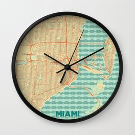 Miami Map Retro Wall Clock