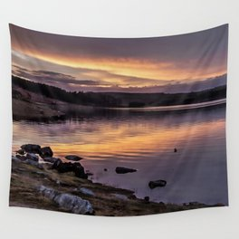 The Derwent Reservoir at sunset Wall Tapestry