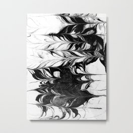 Akiko - spilled ink watercolor painting marble black and white minimal abstract wave ocean marbled Metal Print