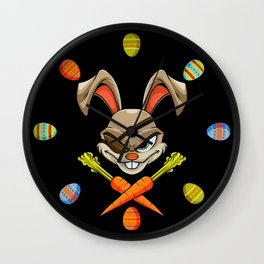 Pirate Easter Bunny Stealing Your Colored Eggs Wall Clock