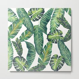 Jungle Leaves, Banana, Monstera II #society6 Metal Print