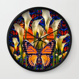 DECORATIVE WHITE CALLA LILIES & MONARCH BUTTERFLY GARDEN COLLAGE Wall Clock