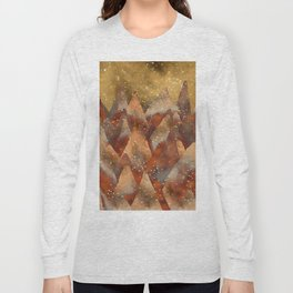 Abstract Copper  Gold Glitter Mountain Dreamscape Long Sleeve T-shirt