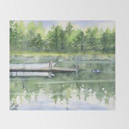 A Summer Pond Throw Blanket