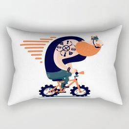 Big biker on a small bike Rectangular Pillow