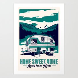 vintage retro camping silk screen print poster trailer camper summer Art Print