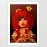 birdy Art Prints featuring Birdy by Anna Lisa Wardle