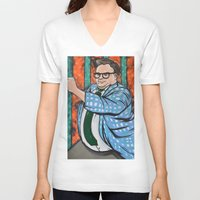 snl V-neck T-shirts featuring SNL Chris Farley as Matt Foley by Portraits on the Periphery