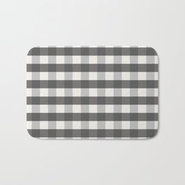 Grey and Pottery White Plaid Gingham Farmhouse Country Canvas digital texture Bath Mat
