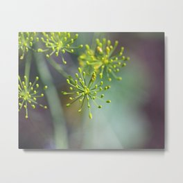 Dill Abstract on Mint Green and Plum Metal Print