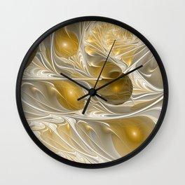 Golden, Abstract Fractal Art Wall Clock