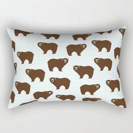 Brown Bear on Blue Background Rectangular Pillow