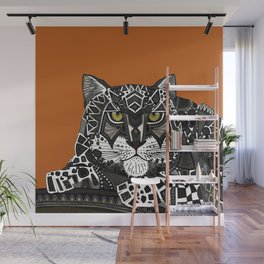 snow leopard orange Wall Mural