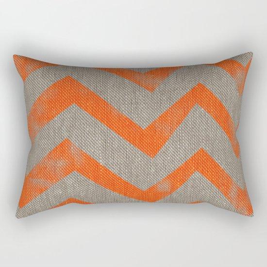 Orange chevron on linen Rectangular Pillow