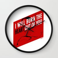 moriarty Wall Clocks featuring SHERLOCK Moriarty Print by Lauren Vaughn
