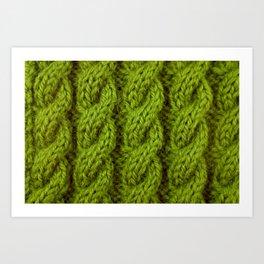 Green cable knitting stitch Art Print