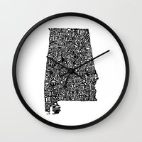 alabama Wall Clocks featuring Typographic Alabama by CAPow!