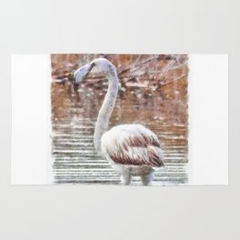Flamingo Feathers Watercolor Rug