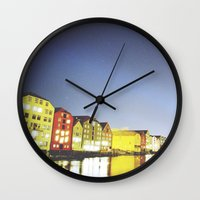 shining Wall Clocks featuring shining night. by zenitt