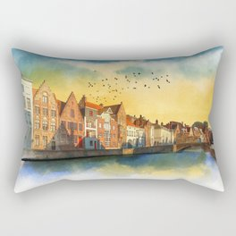 Landscape with beautiful medieval houses and canals. Bruges, Belgium. Rectangular Pillow