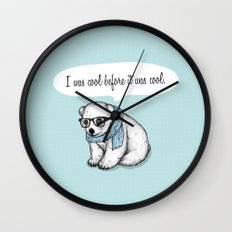 Hipster polarbear Wall Clock