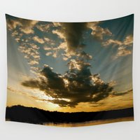 fishing Wall Tapestries featuring Fishing Sundown by Layton Zimmages