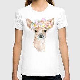 Deer Fawn Floral Watercolor T-shirt