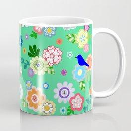 Whimsical Flowers & Birds in Green Coffee Mug