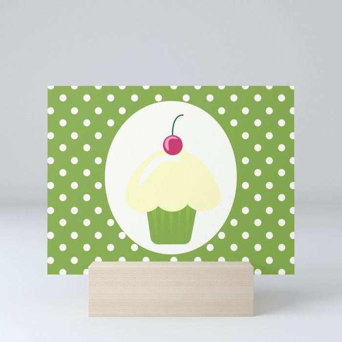 cherry cupcake Mini Art Print
