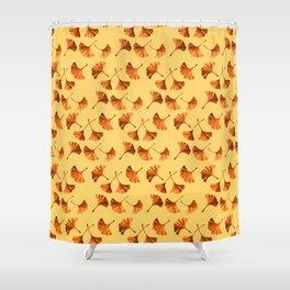 Orange Ginkgo Shower Curtain
