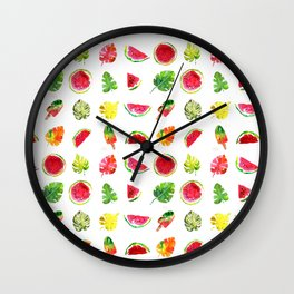 Cute colorful watercolor with watermelon, popsicles and palm leaves Wall Clock