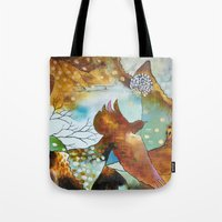 "flora bowley Tote Bags featuring ""Two Hearts"" Original Painting by Flora Bowley by Flora Bowley"