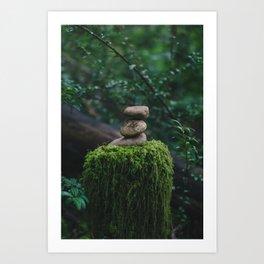 Mossy Cairn Art Print