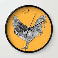 cock Wall Clocks featuring Cock by lush tart