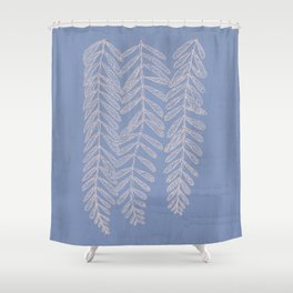 You Can't Kill Me Plants Blue and Cream Shower Curtain