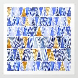 Indigo Blue Gold Tribal Ethnic Triangles Pattern Art Print