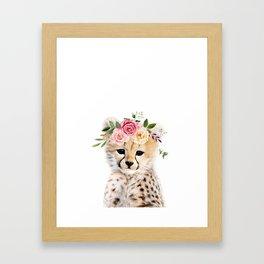 Baby Cheetah with Flower Crown Framed Art Print