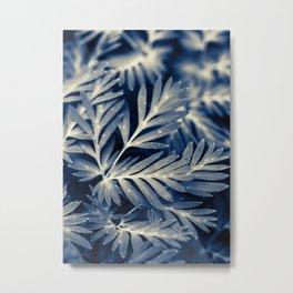 Navy Blue Leaves Metal Print