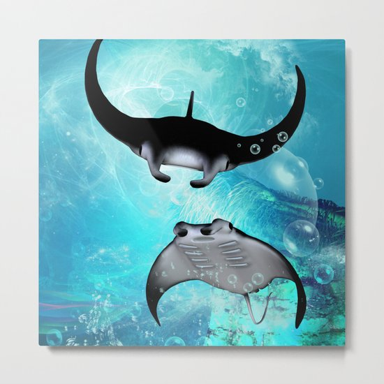 Manta Rays Metal Print