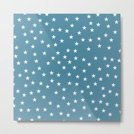Blue background with white stars seamless pattern Metal Print