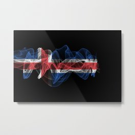 Iceland Smoke Flag on Black Background, Iceland flag Metal Print