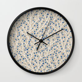 Blue & White Berry Branches Wall Clock