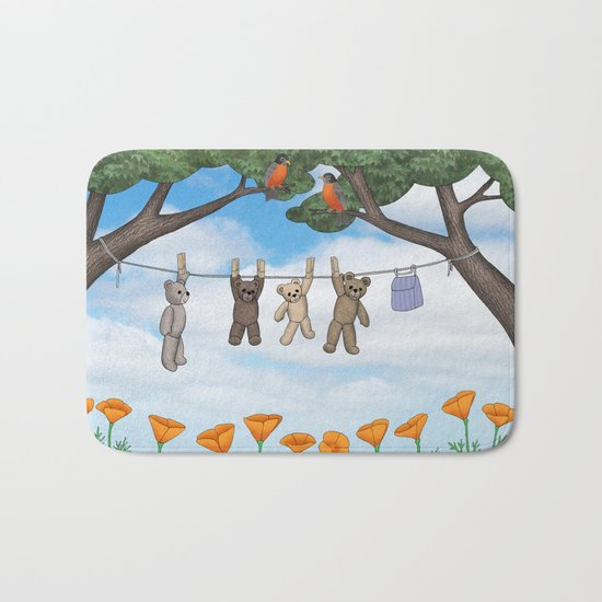 robins, poppies, & teddy bears on the line Bath Mat