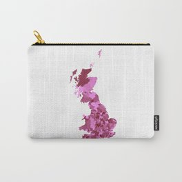 Patriotic Great Britain Map Print Abstract in Pretty Pinks - A great talking piece for the home! Carry-All Pouch